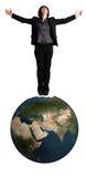 femme debout de globe de la terre d'affaires Photographie stock