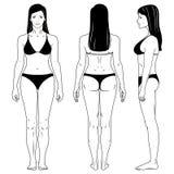 Femme debout Outlined illustration stock