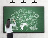 Femme dessinant des croquis renouvelables de sources d'énergie au tableau noir Photographie stock libre de droits