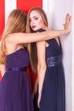 Femme deux chaude sensuelle dans le rétro intérieur Image stock