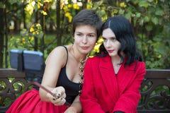 Femme deux prenant le selfie par le téléphone avec le monopod Photos libres de droits