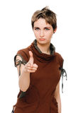 Femme dirigeant son doigt à vous Images stock