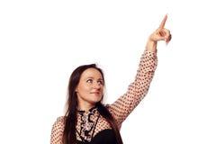 Femme dirigeant son doigt sur l'espace vide de copie Photos libres de droits
