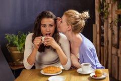 Femme disant le secret à son ami Photos libres de droits