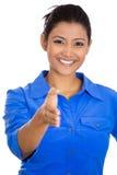 Femme donnant la poignée de main Photographie stock libre de droits