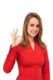Femme donnant le signe CORRECT Image libre de droits