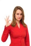 Femme donnant le signe CORRECT Photo libre de droits