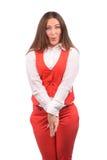 Femme drôle dans la veste rouge Images stock