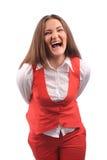 Femme drôle dans la veste rouge Photos stock