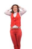 Femme drôle dans la veste rouge Photographie stock libre de droits