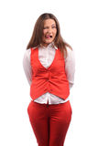 Femme drôle dans la veste rouge Image stock