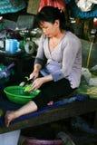 Femme du Mékong coupant en tranches le melon amer Image stock