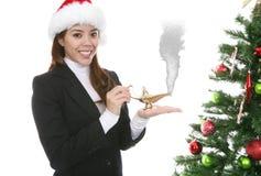 Femme effectuant le souhait de Noël Images libres de droits