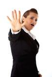Femme effrayée d'affaires Images stock