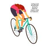 Femme emballant le cycliste dans l'action Photographie stock