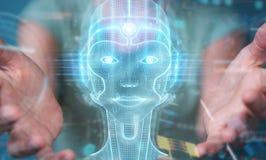 Femme employant le rendu num?rique de l'interface 3D de t?te d'intelligence artificielle illustration stock