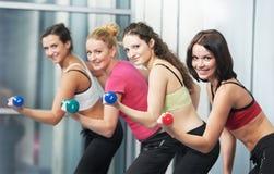 Femme en bonne santé faisant l'exercice de forme physique avec l'haltère Photographie stock libre de droits