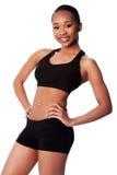 Femme en bonne santé heureuse d'Asiatique de noir d'ajustement Photos stock