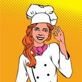 Femme en chef montrant à bandes dessinées correctes d'art de bruit de succès le rétro style avec l'image tramée Image libre de droits