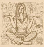 Femme en fond de Lotus Pose Against Love Story Photographie stock libre de droits