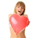 femme en forme de coeur de bikini de baloon Photos stock