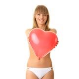 femme en forme de coeur de bikini de baloon Images libres de droits