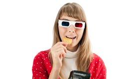 Femme en glaces du cinéma 3d Images libres de droits