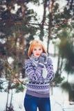 Femme en hiver Photos stock