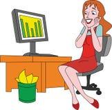 Femme en ligne Photo stock