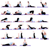 Femme en positions de yoga Photo libre de droits