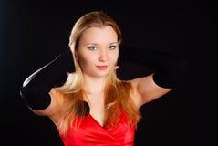 Femme en rouge. Images stock