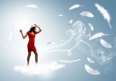 Femme en rouge Photo libre de droits