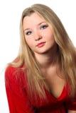 Femme en rouge sur un fond blanc Photos libres de droits