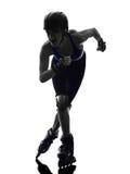 Femme en silhouette de patins de rouleau Photo libre de droits