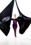 Femme en soie aérienne, d'isolement sur le blanc Photo libre de droits