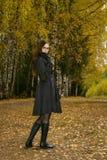 Femme en stationnement d'automne image libre de droits