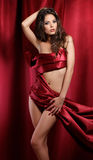 Femme en textile rouge Photo stock