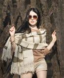 Femme en verres de rayure, vêtements bruns beiges d'automne Mod de mode Photographie stock libre de droits