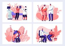 Femme enceinte à docteur Appointment dans l'ensemble de clinique Docteur masculin Character Doing Medical v?rifient  Grossesse sa illustration libre de droits