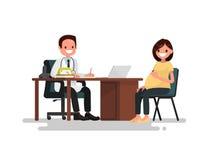 Femme enceinte à la réception au docteur Illustration de vecteur illustration stock