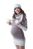 Femme enceinte avec du charme posant dans des vêtements chauds photographie stock libre de droits