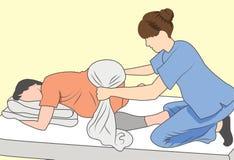 Femme enceinte avec le bébé et la mère de soutien d'infirmière avec la serviette illustration de vecteur