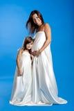Femme enceinte avec son descendant Images libres de droits