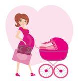 Femme enceinte avec un transporteur de bébé rose complètement des présents illustration de vecteur