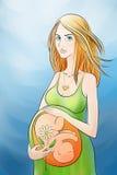 Femme enceinte avec une fleur dans la main Images libres de droits