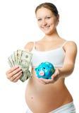 Femme enceinte avec une tirelire Photos stock