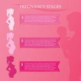 Femme enceinte - d'abord, deuxième et troisième trimestre Photographie stock