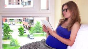 Femme enceinte d'indépendant travaillant avec la tablette se reposant par la fenêtre à la maison clips vidéos
