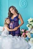 Femme enceinte de belle jeune brune dans la robe pourpre sexy impressionnante près du sofa bleu et des fleurs mignonnes ainsi que Photo stock