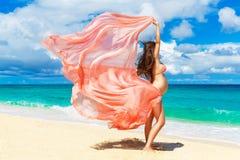 Femme enceinte de jeunes avec le tissu rose flottant dans le vent sur a Photographie stock libre de droits